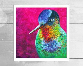 Vibrant Hummingbird Art Print - Limited Edition