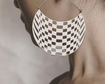 Geometric Hoop Earrings - Boho Jewelry - Big Earrings - Checkers Hoops Large