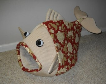 Fish Shaped Pet Bed Burnt Red and Tan