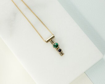 Malachite and Onyx Double Bezel Tiny Dancer Necklace in Bronze
