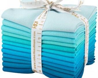 KONA Pool Party palette - Cotton Solids in Blues and Aquas - 12-piece Fat Quarter Bundle - Robert Kaufman