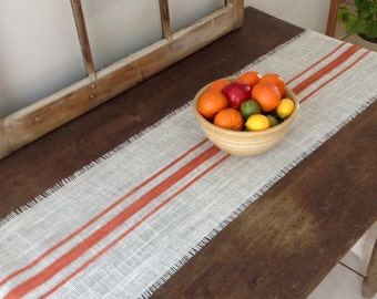 Orange Striped Burlap Table Runner 10-14x84 Rustic Farmhouse Burlap Table Runner by sweetjanesplan