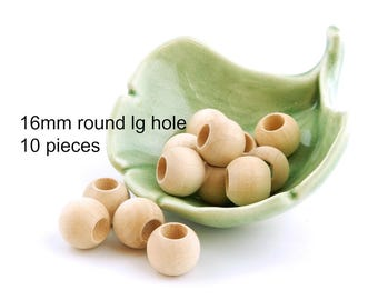 Large Hole 16mm ( 5/8 inch ) Round Unfinished Wooden Beads - 10 pieces