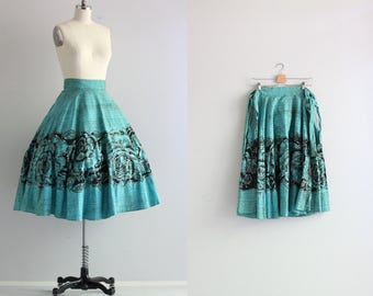 Mexican Handpainted Skirt . Vintage Full Circle Skirt . 1950s 50s Skirt . Retro Bombshell Skirt