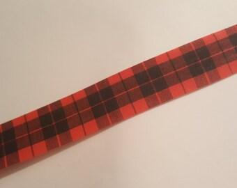 Vintage Christmas Ribbon Destash - Christmas Plaid flat edged ribbon