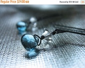SALE Black Sterling Silver Dainty London Blue Topaz and Crystal Earrings Antique Finish