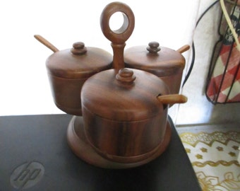 late 60's early 70's 4 piece teak wood condument service set