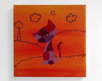 Patchwork Kitty Original Painting