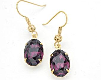 Purple Crystal Earrings/ Purple Rhinestone Earrings/ Purple Drop Earrings/ Amethyst Dangle Earrings/ Small Purple Earrings/ Vintage Earrings
