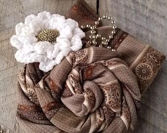 Necktie Flower Pin - Memorial Keepsake - Mens Tie Memorial - Repurposed Ties - Custom Listing