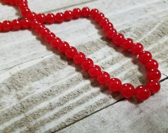 Red Beads 8mm Red Beads 8mm Glass Beads 8mm Beads Jelly Beads Wholesale Beads BULK Beads Double Strand 106 pieces