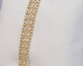 "Vintage 14K Yellow Gold Italian Beaded Edge Open Mesh 8mm Wide Stylish ""AH"" Ladies Bracelet 7.8 Grams"