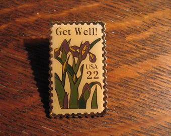 Get Well USA Postage Stamp Pin - Vintage 1987 Jonathan Grey & Associates Pin