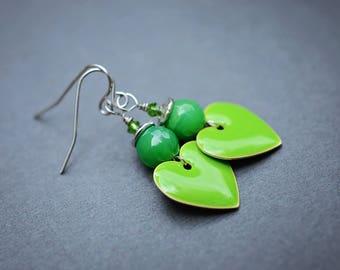 Green Agate Earrings, Gemstone Earrings, Heart Earrings, Surgical Steel Earrings, Green Earrings, Enamel Earrings, SRAJD