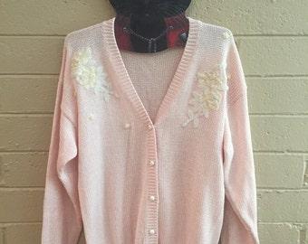 Vintage Women's Detailed Pink Cardigan
