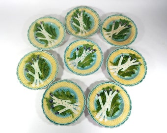 8 French Vintage Majolica Asparagus Plates from Salins