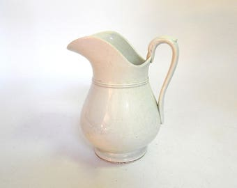Antique French Porcelain Pitcher in Soft White Classic, Graceful and Elegant