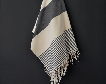 SALE 50 OFF/ Turkish Beach Bath Towel / Classic Peshtemal / Gray Black / Wedding Gift, Spa, Swim, Pool Towels and Pareo