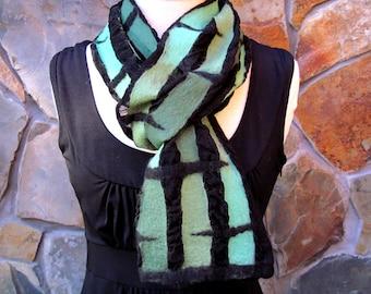 Shades of green abstract line design, nuno felt scarf