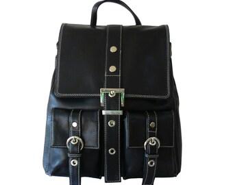 Perlina Black Leather Pocket Backpack