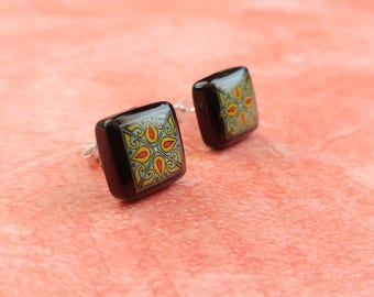 Black Onyx and Sterling Silver Post Earrings, Turquoise & Red Spanish, Mexican, Catalina and Mediterranean Tile Inspired
