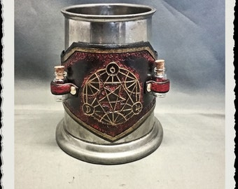 Leather tankard / mug wrap - Alchemist - Black, Red and Gold