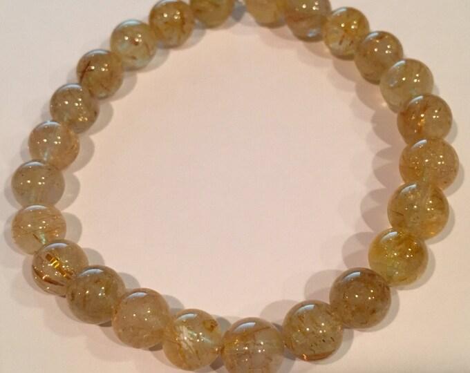 Rutilated Quartz Bracelet, Golden Rutilated Quartz, Stretch Bracelet, 8mm Bead Bracelet, Gemstone Bracelet, Beaded Bracelet