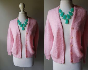 Vintage 50's Bubblegum Pink Cardigan Mohair Wool Grease Costume Sock Hop Flamingo Sweater Button Down Medium Grandpa Sweater Bright Pink M S