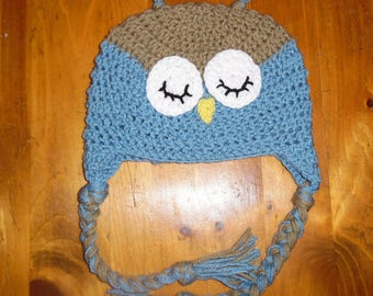 crochet hat, crochet owl hat, winter hat, winter beanie, child hat, christmas, hat with ear flaps
