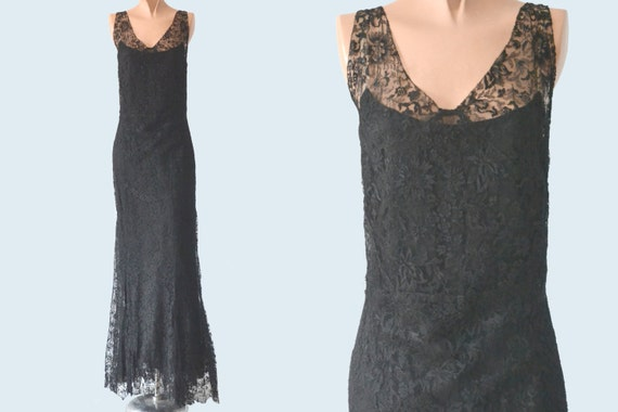 1930s Black Lace Dress size S