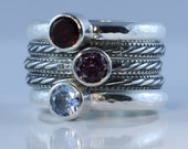 Set of 3 rings with 5mm gems, set on band D, two skinny rings, sterling silver, custom made ring set