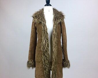 90's does 70's Shaggy Faux Fur Trimmed Paisley Boho Coat // M
