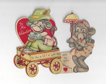 Vintage Monkey Die Cut Tri Fold Valentine Card, 1930s