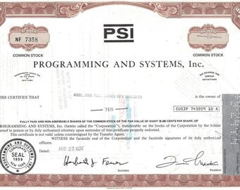 Vintage Programming and Systems, Inc. (PSI) Original Common Stock Certificate (brown),1970's