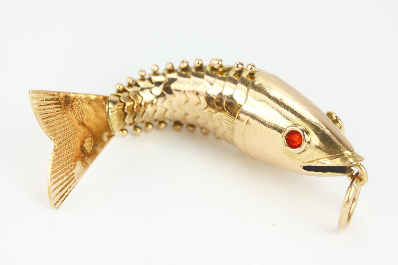 Solid gold fish pendant yellow gold fishing pendant fishing for Solid gold fish