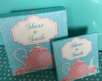 Cookie Box and Tea Bag: Tea party fun!  Share a Smile with someone you care about. Just Because