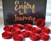 Red Handmade Spiral Paper Flowers