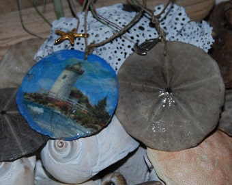 Decoupage SandDollars /with charms Ornaments