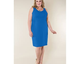 Cotton Jersey Shift Dress Sleeveless Customizable Length, Sleeve Length and Neckline Shape Sizes 2-28