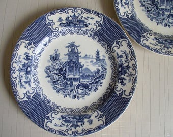 Blue Transferware Dessert Plates by Allertons England in Chinese Pattern , Chinoiserie Blue and White Decor , Vintage Wall Decor