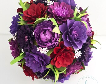 Paper Bouquet - Paper Flower Bouquet - Wedding Bouquet - Shades of Wine - Made To Order - Any Color