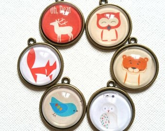 6 Mix Animal Glass cabochon with Bronze Cameo Setting Pendant 20mm NP-9