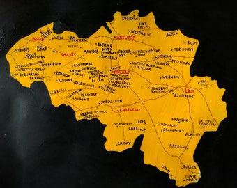 Belgium Brewery Map - hand painted
