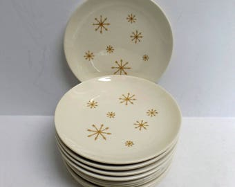 Star Glow plates Royal China Ironstone mid century atomic starburst dinnerware set of 12 bread butter