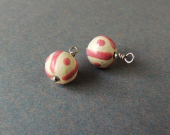 Jewelry Dangles, Wire Wrapped Beads, Porcelain Beads, Silver Head Pins, Pink And White Beads, Ornamentea Beads