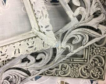 Trio Metal Filigree Picture Frames~SHABBY WHITE & WONDERFUL!