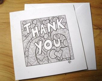 Thank You Card,  Abstract Card, Hand Drawn Card, Greetings Card,  Note Card