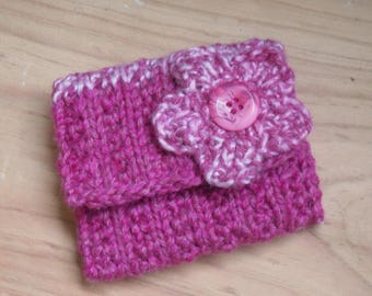 Knitted Pink Coin Purse, Change Purse Hand Knitted with Flower Decoration