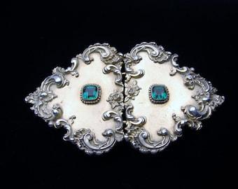 Antique Sterling Silver Glass Art Nouveau Belt Buckle