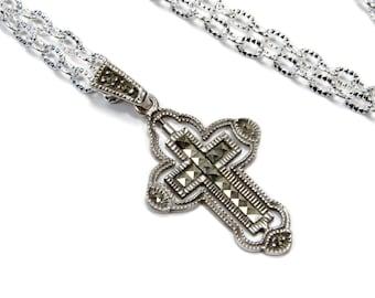 MARSALA Sterling Silver Marcasite Cross Pendant